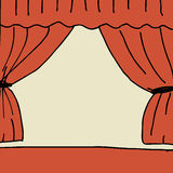Stage. Illustration of hand drawn stage with curtain Stock Photos