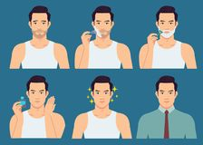 The stage illustration of the handsome man shaves his beard. vector illustration