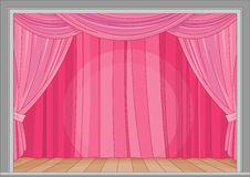 Stage. Illustration of stage with red curtain Stock Image