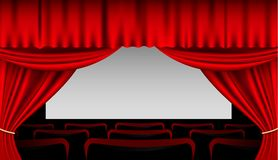 Stage interior with red curtains and seats Stock Images