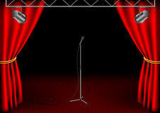 Stage with isolated microphone Stock Photo