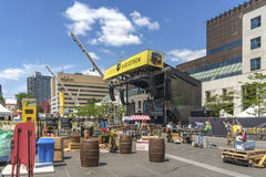Stage at the Just for laughs festival. Just for Laughs (French: Juste pour rire) is a comedy festival held each July in Montreal, Quebec, Canada. Founded in 1983 royalty free stock photo