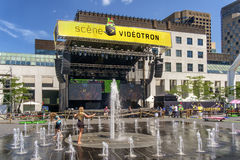 Stage at the Just for laughs festival. Just for Laughs (French: Juste pour rire) is a comedy festival held each July in Montreal, Quebec, Canada. Founded in 1983 stock images