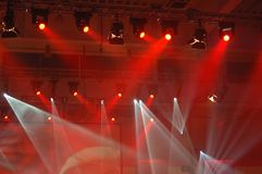 Stage light. Reflektors above scene during preformance Royalty Free Stock Photo