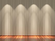 Stage with light brown  curtains and spotlight. Stock Photography