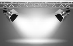 Stage light. On grey background 3D rendering Royalty Free Stock Images