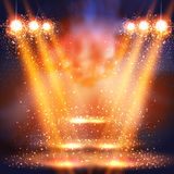 Stage, light, spotlights shining in dark place background Royalty Free Stock Photos