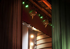Stage Lighting. The curtain on the stage and lighting layout Royalty Free Stock Photography