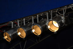 Stage Lighting. System under roof. Spotlights, outdoor theater royalty free stock photo