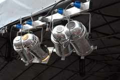 Stage Lighting. System under roof and sky. Spotlights, outdoor theater stock photography
