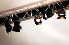Stage Lighting. Stage lights and rigging over a convention center display Royalty Free Stock Photo