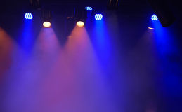 Stage lighting. Blue light show royalty free stock photos