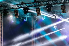 Stage lighting effects. rays of bright lights over stage. Professional equipment stock image