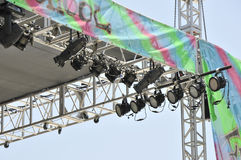 Stage Lighting Equipment. An image of stage lighting equipment against a blue sky Stock Photos