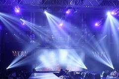 Stage lighting, Fashion Show of `Vientiene WOW Fashion Week 2017` Stock Photos