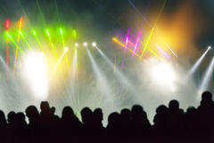 Stage Lighting. Festivals, outdoor stage lighting and people royalty free stock photography