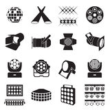 Stage lighting icons. Scene lighting equipment icons Royalty Free Stock Image