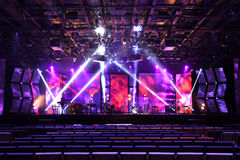 Stage With Lighting and Musical Instruments Stock Photos