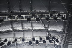 Stage Lighting Rigging. Stadium Stage roof with rigging, truss and lighting royalty free stock photo
