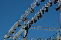 Stage lighting system. Under blue sky Royalty Free Stock Photos