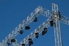 Stage lighting system. Under blue sky stock photo