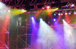 Stage lights. Multi-colored stage lighting effects royalty free stock photo