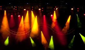 Stage lights. Stage with light and smoke background Stock Images