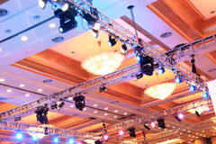 Stage lights. Behind the stage lights on the roof Royalty Free Stock Photos