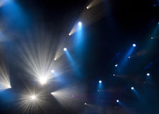 Stage lights. Blue stage lights during concert royalty free stock photography