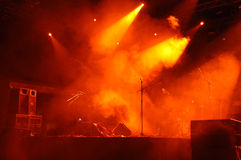 Stage In Lights 3. A stage with smoke and lights royalty free stock photos