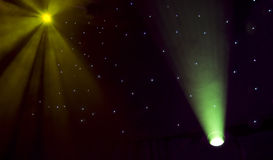Stage lights. Stage green lights - prepared for production and shooting royalty free stock photo