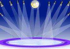 Stage lights. With blue background illustration vector illustration