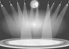 Stage lights. Illustration drawing of stage lights with gray background royalty free illustration