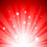 Stage lights. On bottom with stars on red background Stock Photo