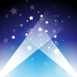 Stage lights. On two side with stars on blue background Stock Images