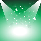 Stage lights. On top two side with stars on green background Royalty Free Stock Photos
