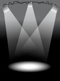 Stage lights. Grey-scale stage lights on top reflect the shadow Royalty Free Stock Photography
