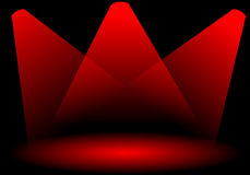 Stage lights. Three red lights on top of the stage royalty free illustration
