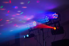 Stage lights in action at the concert. Lights show. Lazer show. stock photos