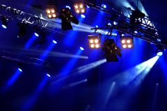 Stage lights. Blue stage lights in germany stock images