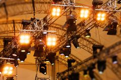 Stage lights. Blue stage lights in germany stock photo