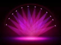 Stage lights circle projectors in the dark. Royalty Free Stock Photo