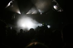Stage lights concert. Crowd with stage lights in music concert Royalty Free Stock Photos