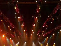 Stage lights in a concert. Of different colors. Blurred colorful background Stock Photos