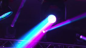 Stage lights at the concert with fog, Stage lights on a console, Lighting the concert stage, entertainment concert stock video footage