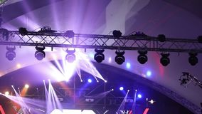 Stage lights at the concert with fog, stage lights on a console, lighting the concert stage, entertainment concert