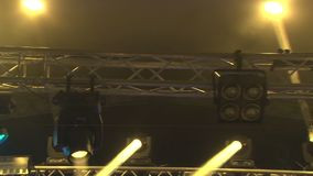 Stage lights at the concert with fog, Stage lights on a console, Lighting the concert stage, entertainment concert stock video