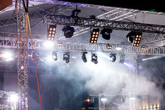 Stage lights at concert. illuminated stage with lights and smoke. Stage lights at concert. illuminated stage with scenic lights and smoke stock photos