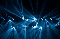 Stage lights on concert. Lighting equipment. With beams royalty free stock photo