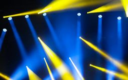 Stage lights on concert. Lighting equipment. With multi-colored beams Royalty Free Stock Images